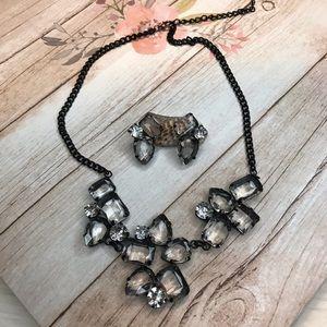 Elegant Black & Clear Stone Earrings/ Necklace Set